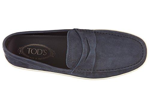 Tod's mocassins homme en cuir fondo caoutchouc blu