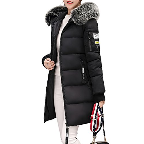 Rela Bota Women's Winter Thicken Puffer Coat Fur Trim Hooded Parka Jacket Long Overcoat X-Large Black - Fur Trim Long Hooded Coat