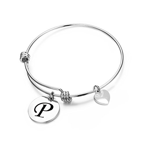 Bracelet Initials Heart (MAOFAED Initial Bracelet Letter Bracelet Personalized Jewelry Hand Stamped Jewelry(P-2))