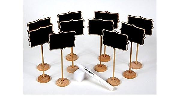 10 piezas mini rectangulares de pizarra soportes/carteles, uso para bodas, fiestas, números de mesa o tarjetas de lugar: Amazon.es: Oficina y papelería