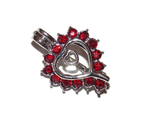 Studded Cage - Red Gem Studded Heart Pearl Cage for Pick a Pearl - Old School Geekery TM Brand Jewelry Making Supplies