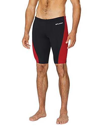 Baleaf Men's Durable Training Polyester Jammer Swimsuit Black/Red Size 32