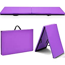 Giantex 2'x6' Folding Gymnastics Gym Exercise Aerobics Mat, Thick Two Fold with Hook & Loop Fasteners, for Gymnastics, Aerobics, Yoga, Martial Arts