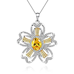 Swarovski Elements Women's Necklace White Gold Plated with Cubic Zirconia Flower Shaped Pendant Chain Ideal Gift for Her