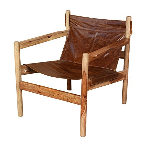 Wanderloot Genoa Solid Sheesham and Leather Sling Chair (India) | This Item is Beautiful Exotic Hardwood by Porter International Designs. (Image #9)