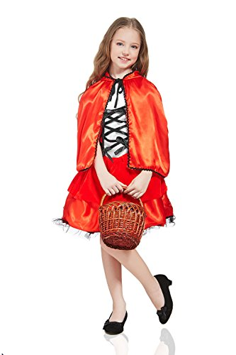 Kids Girls Little Red Riding Hood Costume Gown & Cape Fairy Tale Party Dress Up (3-6 years, Red) (Little Red Riding Hood Cool School)