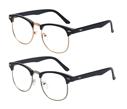 Outray 2 Pack Reading Glasses Vintage Retro Horn Rimmed Half Frame Style for Men and Women - Rimmed Vintage Mens Horn Glasses