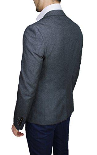 Gessata Fit Sartoriale Blazer Giacca Jacket Slim Grigio Uomo Elegante Aderente 8IPtwqx8v