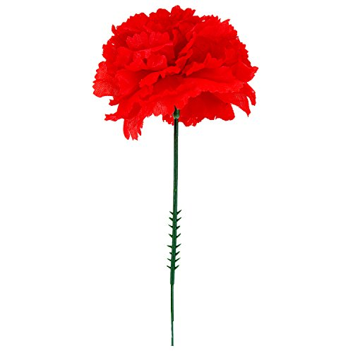 24 Artificial Silk Flower Stem (100 Red Silk Carnations, Artificial Fake Flower for Bouquets, Weddings, Cemetery, Crafts & Wreaths, 5