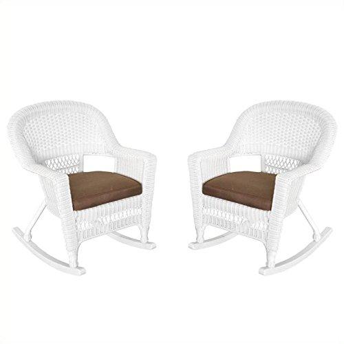 Jeco W00206R-B_2-FS007 Rocker Wicker Chair with Brown Cushion, Set of 2, White