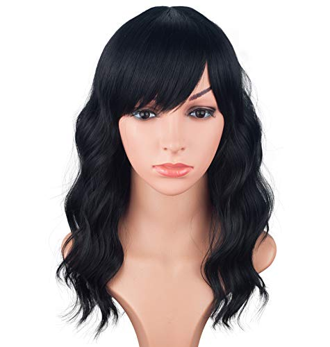 Medium Long Black Wavy Wigs For Women Synthetic Full Hair Natural Black Wigs With Side Bangs For Daily Use 16 Inches (NATURAL BLACK(1#)) (Medium Length Layered Hair With Side Bangs)