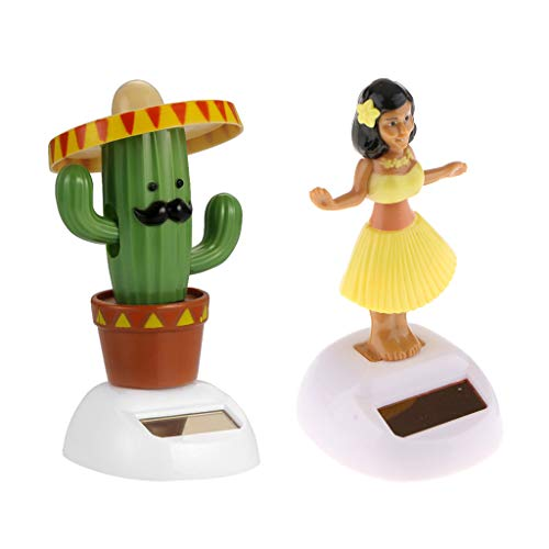 (Homyl 2Pcs Solar Powered Dancing Dolls Figure Statue for Car Dashboard or Windowsill Dance Girl Yellow + Cactus)