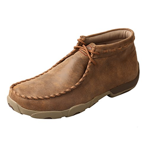 Twisted X Men's Leather Lace-Up Rubber Sole Moc Toe Driving Moccasins - Bomber