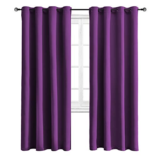 WONTEX Blackout Curtains Room Darkening Thermal Insulated with Grommet Window Curtain for Living Room, 52 x 84 inch, Royal Purple, 2 - Thermal Purple