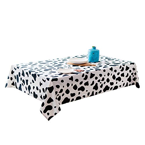(Cow Print Decor Tablecloth Polyester Cotton Tablecloth, Animal Skin Pattern Nature Desert Life Theme Simple Stylish Illustration, Dining Room Kitchen Rectangular Table Cover, 59 X 78.7 inches(Cow))