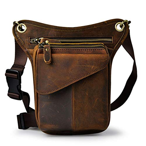 Hebetag Vintage Waist Pack Leather Drop Leg Bag for Men Women Belt Bum Bag Multi-Purpose Motorcycle Bike Outdoor Sports Tactical Cycling Riding Hiking Deep Brown