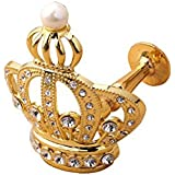 YYC 1Pair Creative Crown Crystal Drapery Curtain Wall Hooks Shop Coat Hanger (Gold)
