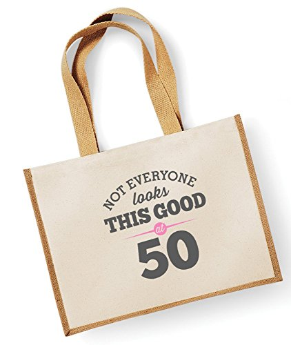 50th Birthday, Keepsake, Funny Gift, Gifts For Women, Novelty Gift, Ladies Gifts, Female Birthday Gift, Looking Good Gift, Ladies, Shopping Bag, Present, Tote Bag, Gift Idea (Fuchsia) Natural