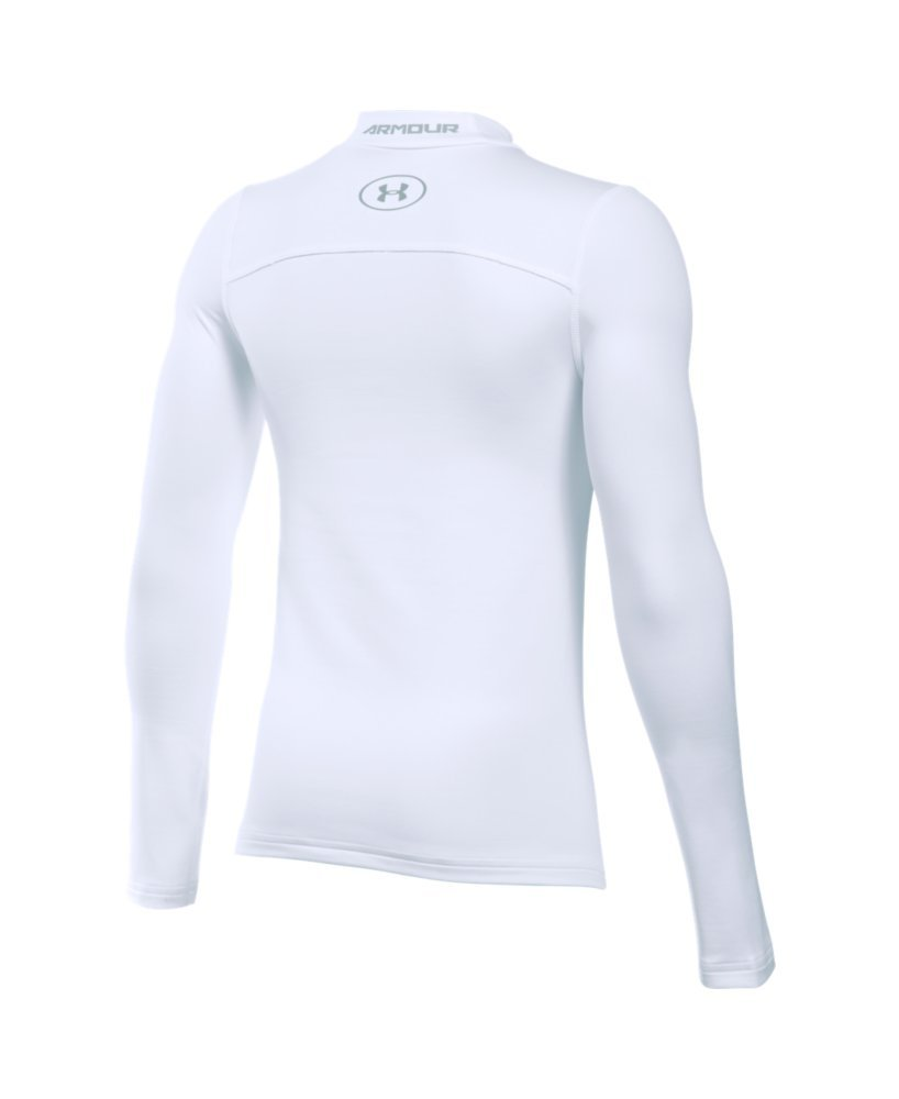 Under Armour Boys' ColdGear Armour Mock, White (100)/Steel, Youth X-Small by Under Armour (Image #2)