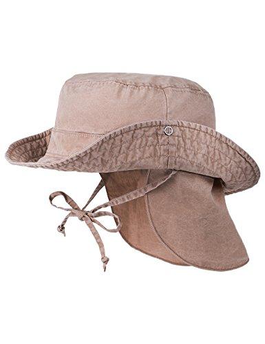 maximo Jungen Kappe Cowboyhut, abknöpfbar, Nackenschutz, Gr. 53 cm, Braun (rehbraun 62)