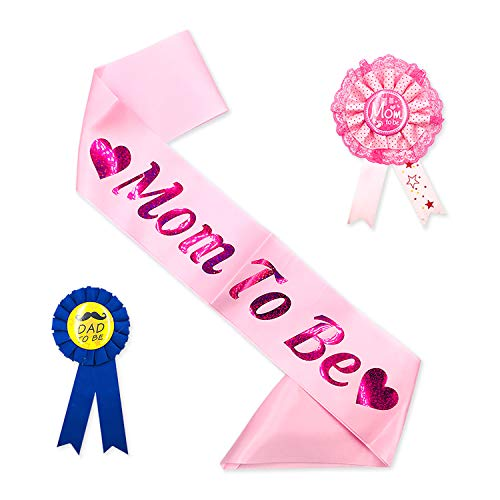 Baby Shower Light Pink Sash DAD to Be Tinplate Badge Kit Baby Shower Party Gender Reveals Party Gifts (Light Pink)]()