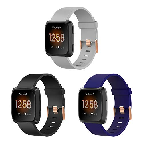 3 Pack Large and Small Bands with Rose Gold Watch Clasp Compatible with Fitbit Versa / Versa 2 / Versa Lite / Versa SE Smart Watch Women Men