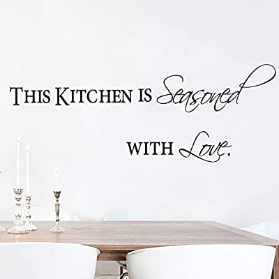 This Kitchen Is Seasoned with Love Quotes Wall Decal Removable Vinyl lettering Wall Art Stickers