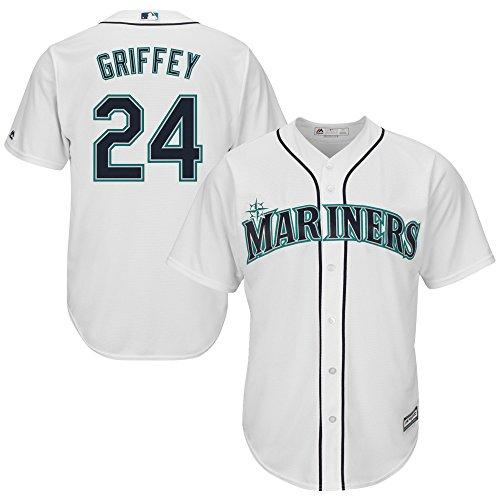 OuterStuff Ken Griffey Jr Seattle Mariners White Youth Cool Base Alternate Replica Jersey (Medium 10/12)