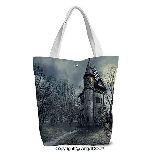 Women lightweight Canvas Shoulder School Bags Halloween Design with Gothic Haunt]()