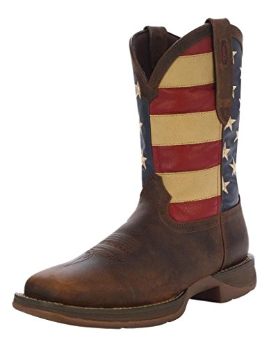 Durango Western Boots Mens 12'' Rebel Patriotic Pull 7.5 D Brown DB5554 by Durango