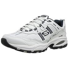 Skechers Sport Men's Vigor 2.0 Serpentine Memory Foam Sneaker,White/Navy,9 M US