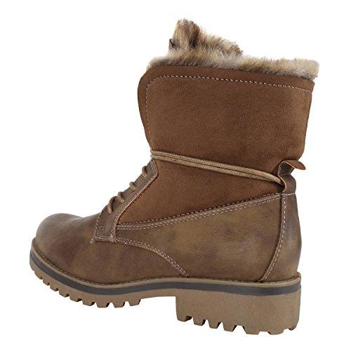 ... napoli-fashion Warm Gefütterte Damen Stiefeletten Outdoor Boots  Kunstfell Stiefel Jennika Khaki Braun 2bb3f245fb