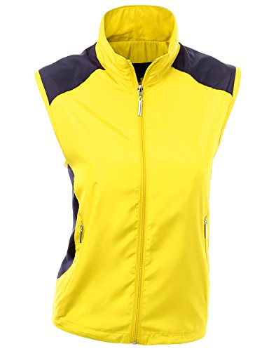 Xpril All Weather Proof Comfortable Wear Loose Fit Zipup Vest Yellow Size L