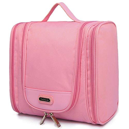 (Hanging Toiletry Bag Portable Travel Organizer Makeup Cosmetic for Women Men (2 Side Pockets Pink))