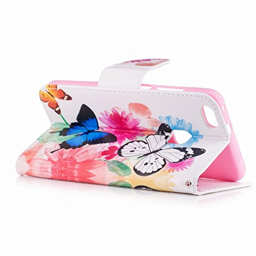 Yiizy Huawei P10 Lite Funda, Flower Butterfly Diseño Solapa Flip Billetera Carcasa Tapa Estuches Premium PU Cuero Cover Cáscara Bumper Protector Slim Piel Shell Case Stand Ranura para Tarjetas Estilo