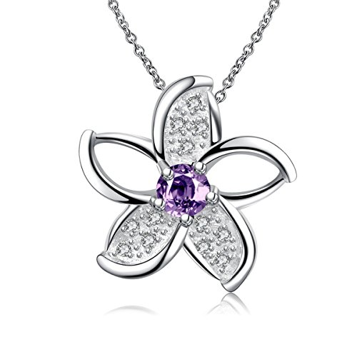 Plumeria Pendant Necklace - Hawaiian Plumeria Flower Amethyst Pendant Necklace Sterling Silver for Women Crystal Jewelry