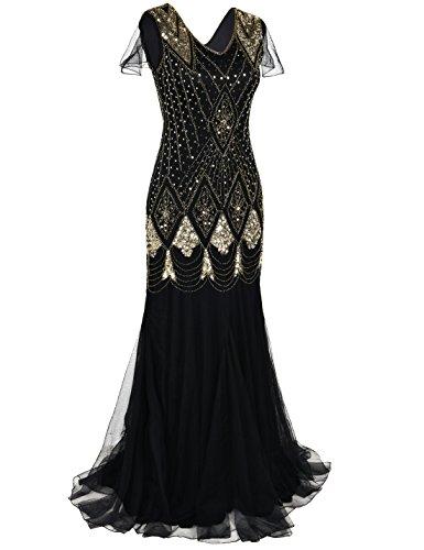 Or Robe Grande de Sirne Bal 1920s PrettyGuide Femmes Soire Robe Taille Cocktail de Flapper xw41O