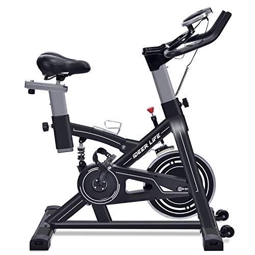 IDEER LIFE Exercise Bike Indoor Cycling Stationary Bike for Home Sport Workout,Adjustable Sport Exercise Bike for Home Indoor Cardio,w/Pulse Sensor&LCD Monitor,Max Capacity:330lb (Black09060) ()
