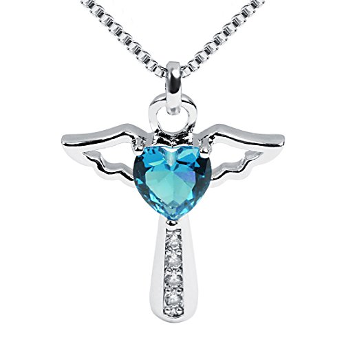 Ckysee Necklaces for Women Girls Cross Cubic Zirconia Angel Wing Birthstone Heart Charm Pendant Necklace November- Citrine