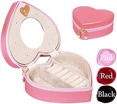 ジュエリーボックス 携帯用 ポーチ ジュエリーケース アクセサリーボックス ハート (ピンク)