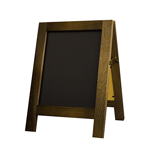 SUPERIORFE Vintage Free Standing Wooden Easel Chalkboard Sign, Rustic Style Two-Side Wood Frame Blackboard for Wedding & Kitchen Decor 9.8
