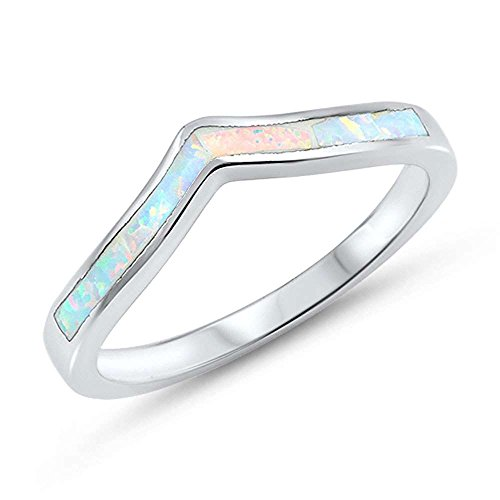 Oxford Diamond Co Sterling Silver Lab Created White Opal Thumb Chevron Stackable Ring Sizes ()