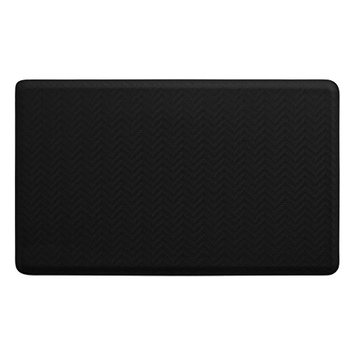 """NewLife by GelPro Anti-Fatigue Designer Comfort Kitchen Floor Mat, 18x30"""", Modern Sisal Black Stain Resistant Surface with 5/8"""" thick ergo-foam core for health and wellness"""