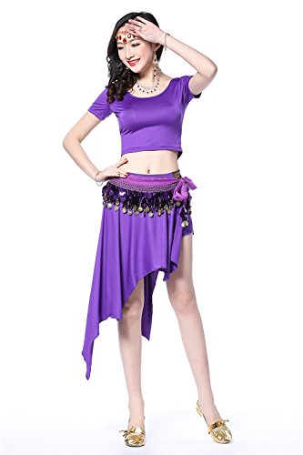 Danza del vientre Disfraz Set Elegant manga corta Top+Floral Corto Falda Purple