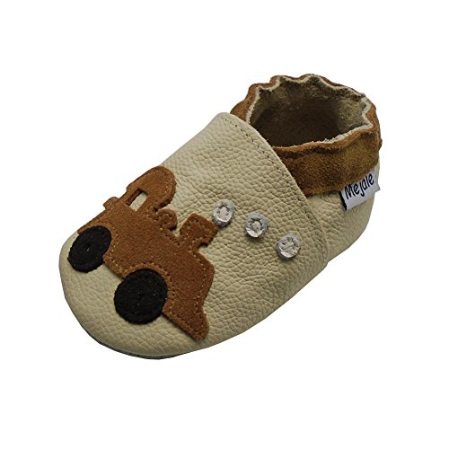 Mejale Baby Shoes Soft Sole Leather Crawling Moccasins Cartoon Train Infant Toddler First Walker Slippers(6-12 Months, beige)