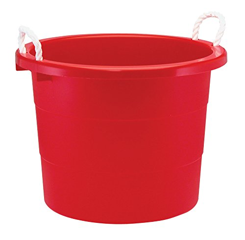 United Solutions TU0013 71.9-Liter Round Tub with Rope Handles, 19 Gallon, Cherry Red