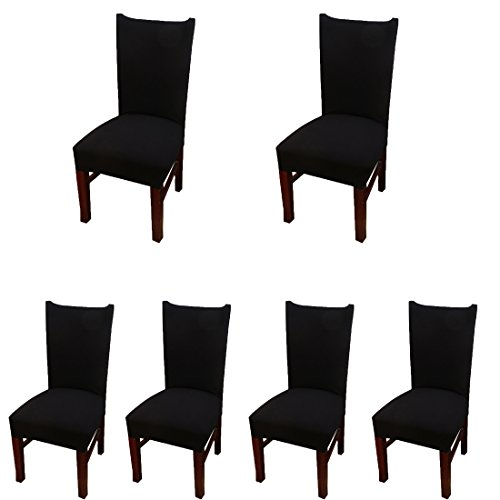 Room Table Cover - Deisy Dee Stretch Solid Color Chair Covers Removable Washable for Hotel Dining Room Ceremony Chair Slipcovers Pack of 6 C093 (black)