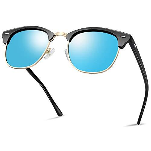 Rimless Mens Lens - Semi Rimless Polarized Sunglasses for Women Men, Unisex Sunglasses with Half Frame - Blue Mirrored Lens
