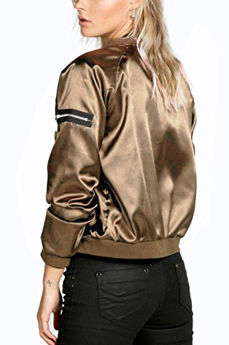 Women's golden Jacket Outwear Sleeve Long Casual Tunic Down Zipper rxrRaqv