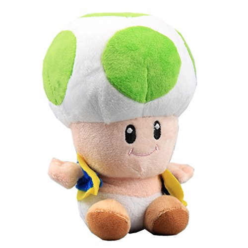 uiuoutoy Super Mario Bros. Green Toad Plush Mushroom 7'' -